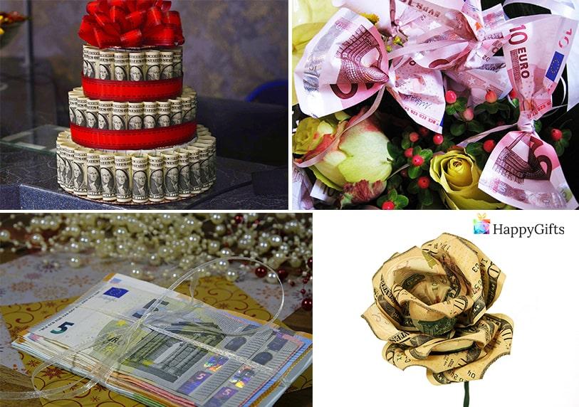 пари като подарък за лекуващ лекар роза торта от банкноти