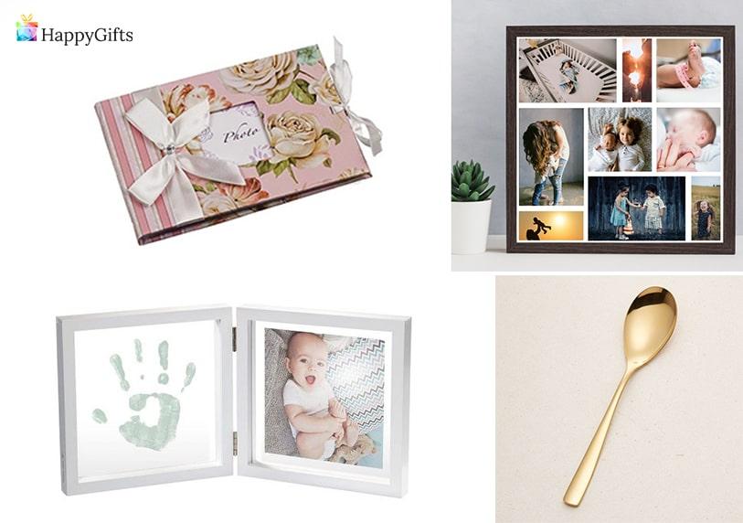персонализирани подаръци за първи рожден ден на момиченце златна лажичка албум колаж от снимки рамка за снимка с отпечатак на бебето
