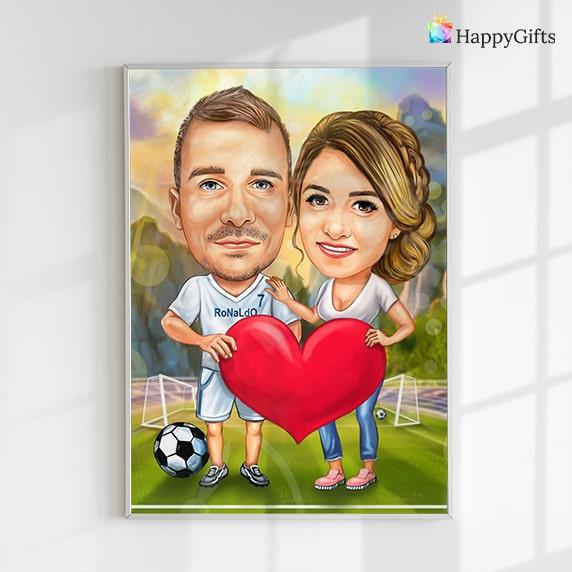 персонализирана карикатура за двойки