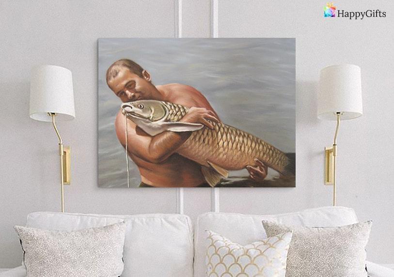 портрет по снимка личен персонализиран подарък за рибар