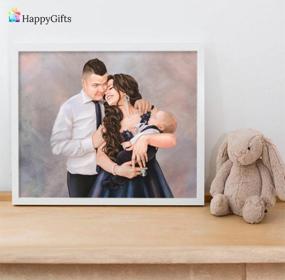 персонализиран портрет на родителите с бебето подарък за първи рожден ден