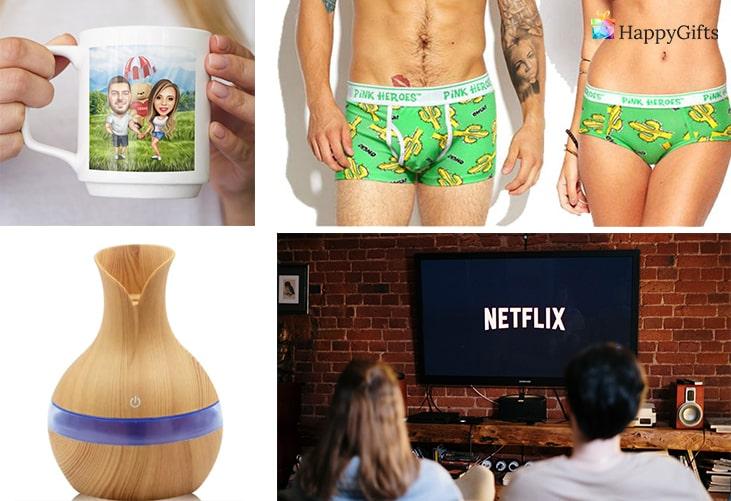Подаръци за семейна двойка; чаша с карикатура, бельо за двойки, овлажнител за въздух, абонамент за нетфликс