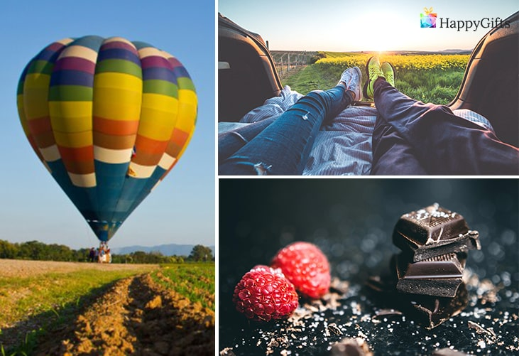 Подарък за двама влюбени; полет с балон, уикенд за двама, дегустация на шоколад