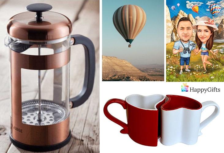 Подарък за двойки за Свети Валентин; френска преса за кафе, полет с балон, карикатура за двойки, чаши ин и ян