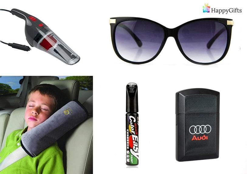 подарък за шофьор очила възглавница за път запалка с лого прахосмукачка за кола