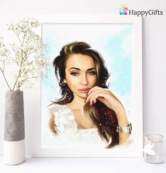 портрет по снимка подарък за булката на моминско парти