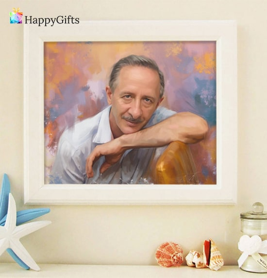 оригинален подарък за мъж на 60 години портрет по негова снимка