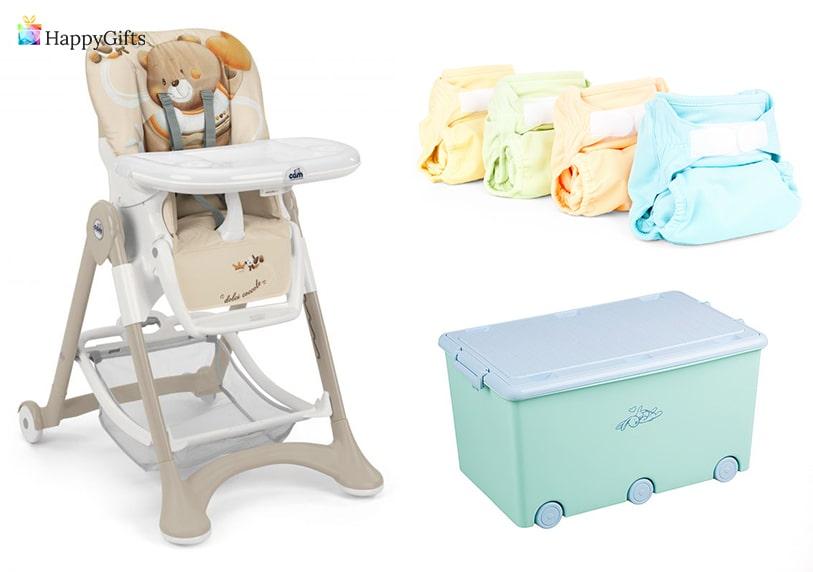 практични подаръци за кръщене на бебе бебешко столче за хранене памперси