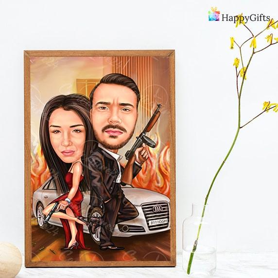семейна карикатура за влюбени двойки