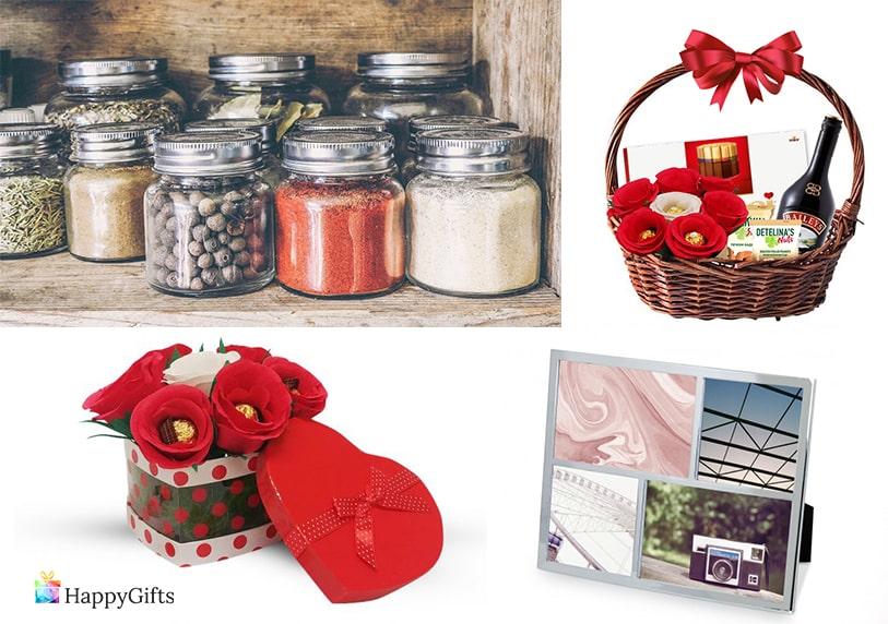 скромен подарък за жена на 40 колаж със снимки буркани с подправки кошница с изненади букет от бонбони