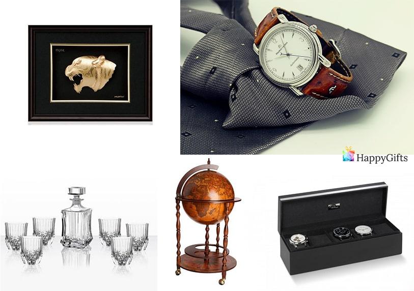 стилен подарък за 60 юбилей на мъж часовник кутия за часовници картина минимар глобус шотове
