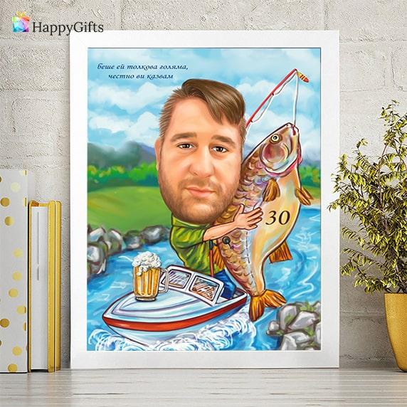 карикатура по снимка като сувенир подарък за рибар
