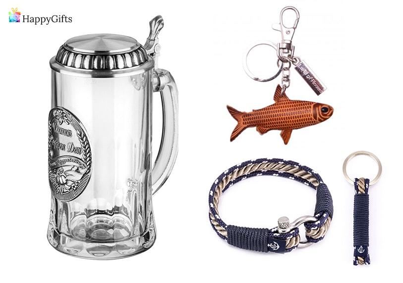 интересни сувенири подарък за рибар халба а бира, ключодържател гривна