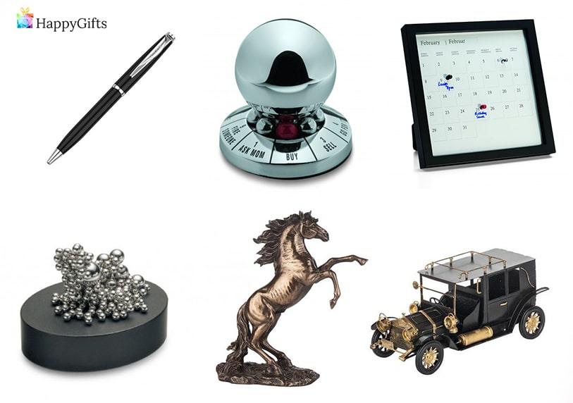 сувенири като подарък за 60 годишнина на мъж статуетка луксозна писалка календар количка