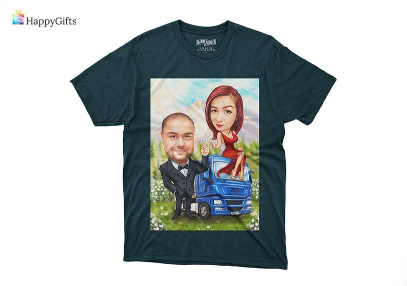 тениска с каарикатура подарък за мъж шофьор