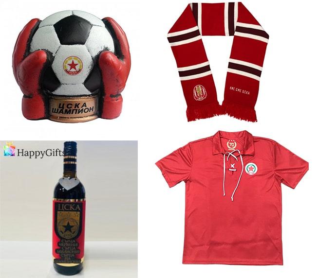 подаръци за фенове на ЦСКА червена тениска шал топка бутилка вино