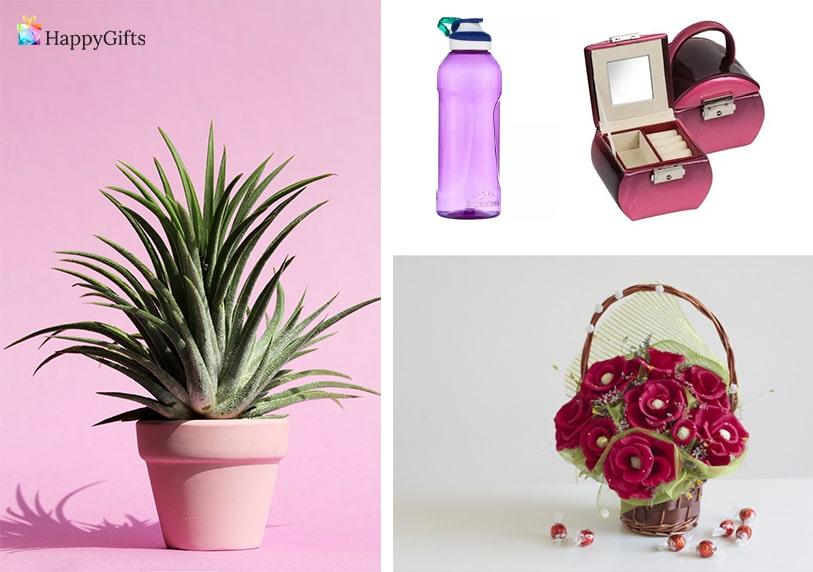 оригинални подаръци за 8-ми март цвете в саксия букет от бонбони кутия за бижута