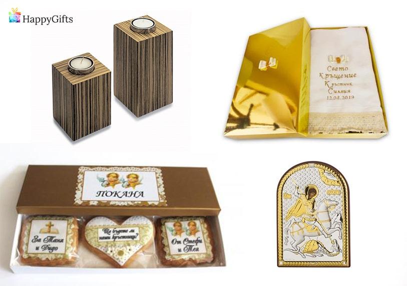 интересни оригинални подаръци за кръстниците на кръщене бонбони сладки икона свещи