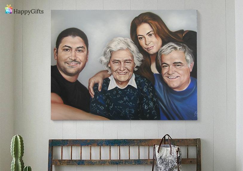 портрет за мама от цялото семейство подарък за жена на 70 или 80