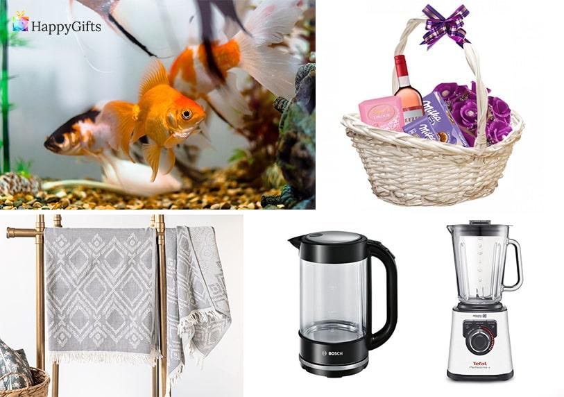 подаръци за майка на 70 или 80 златна рибка кошница с изненади и вино шал пасатор