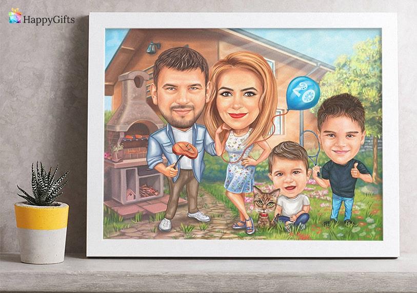 семейна карикатура по снимка подарък за майката кръщене