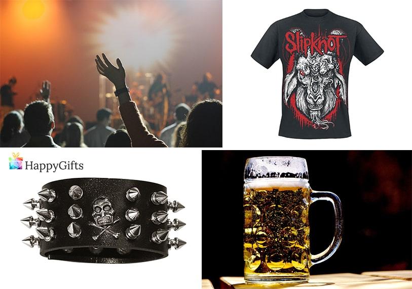 тениска на любима метъл група халба за бира гривна с шипове билети за концерт