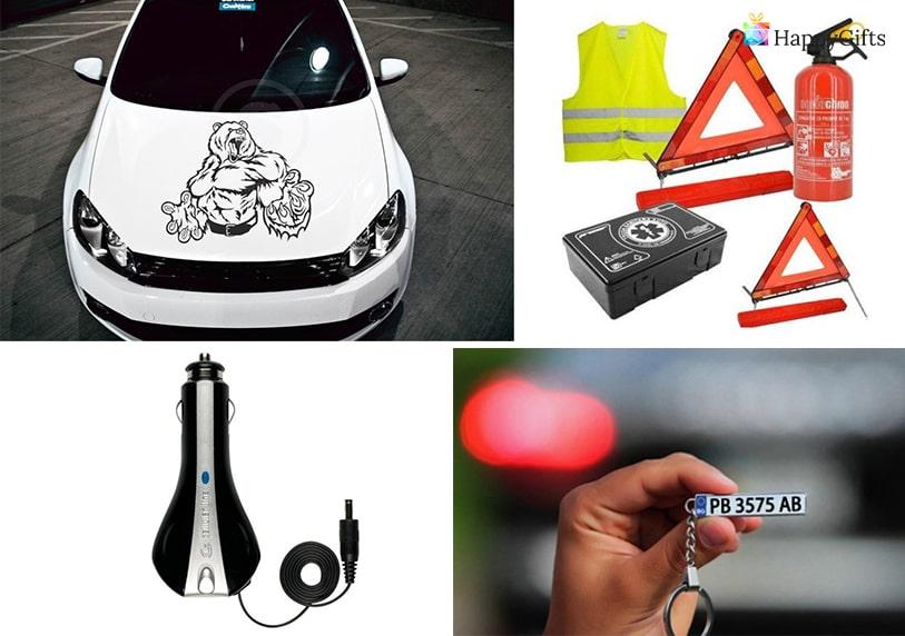 подарък за млад шофьор кола стикер ключодържател пожарогасител жилетка триъгълник