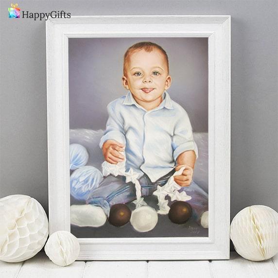 портрет по снимка подарък за първи рожден ден на момченце
