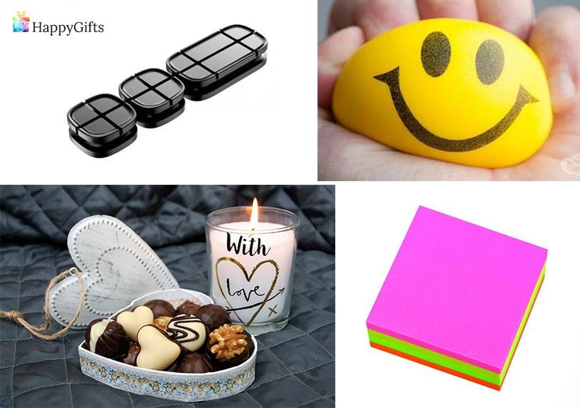 подходящ подарък за нова колежка лепящи се листчета антистрес топка бонбони