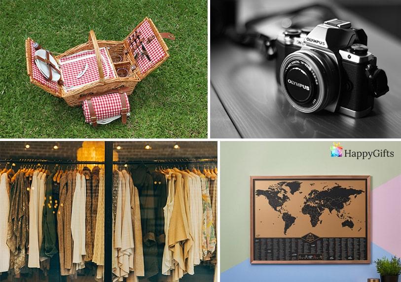 за пътуване и свободно време оригинални подаръци за пенсиониране на жена фотоапарат кошница за пикник скреч карта дрехи