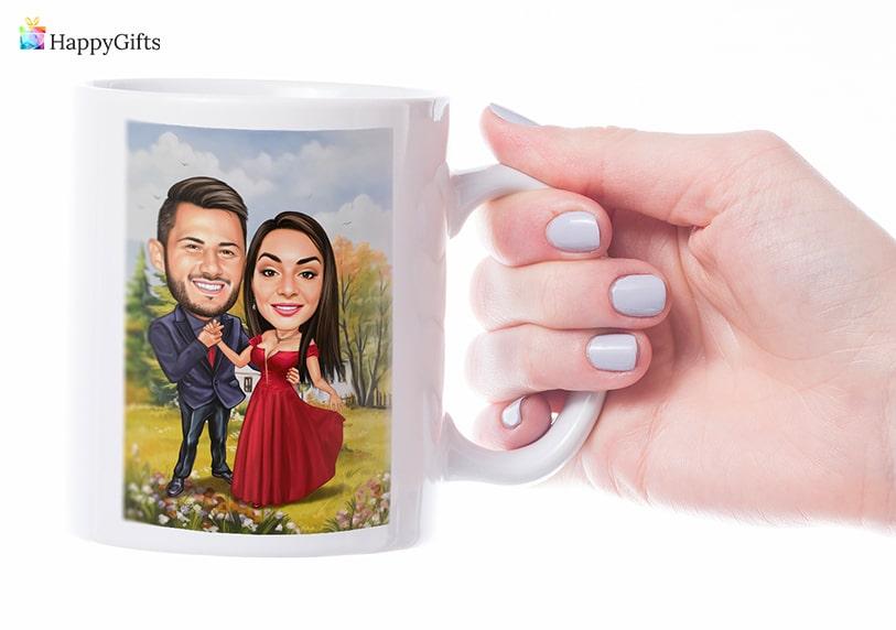 чаша за кафе с карикатура подарък за рожден ден на колежка