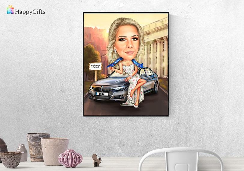 карикатура за жена шофьор оригинален подарък