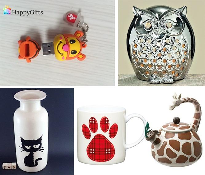 готини подаръци за ветеринар флашка с животно чаша с лапичка чайник бухал