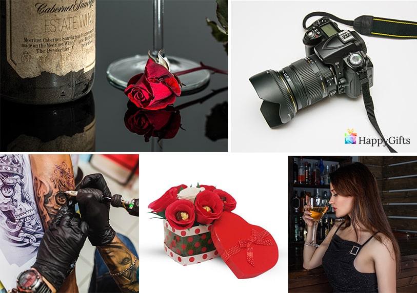 подаръци за жена на 20 фотоапарат вино татуировка букет с бонбони