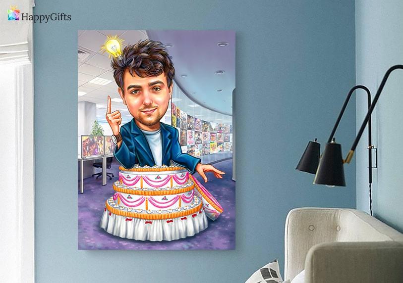 оригинален подарък за ергенско парти карикатура по снимка на младоженеца