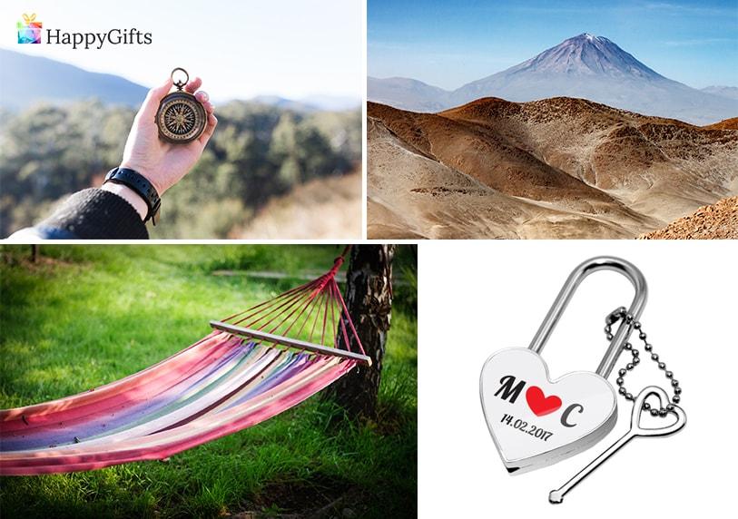 оригинален подарък за годишнина 1 година заедно, компас, хамак, катинар с ключ сърце почивка в планина
