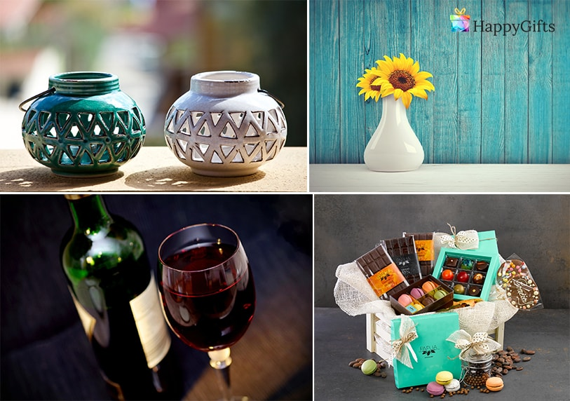 оригинална идея за подарък за десет годишнина от сватбата от кумове цветя ваза вино