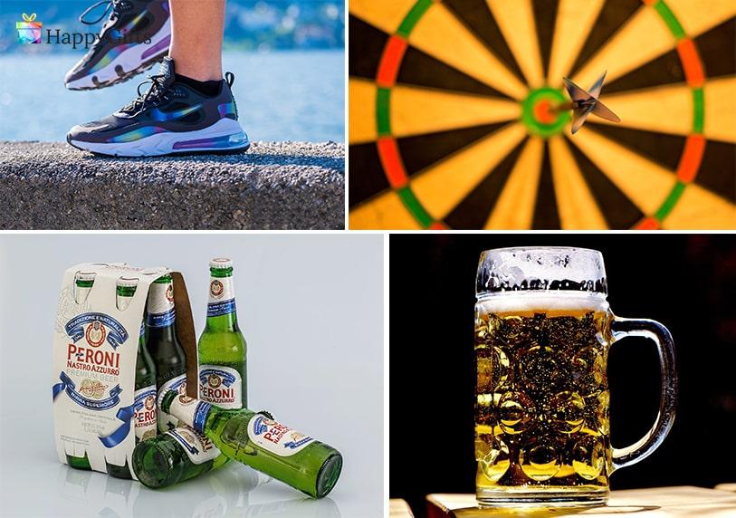халба за бира, маратонки, крафт бира, дартс