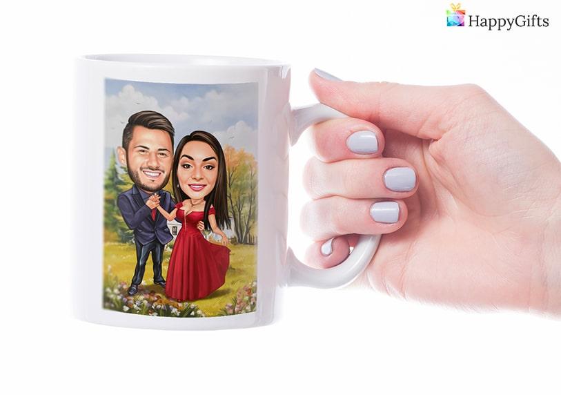 чаша с карикатура, карикатура на младоженци