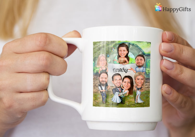 чаша със сватбена карикатура интересен подарък за шаферка