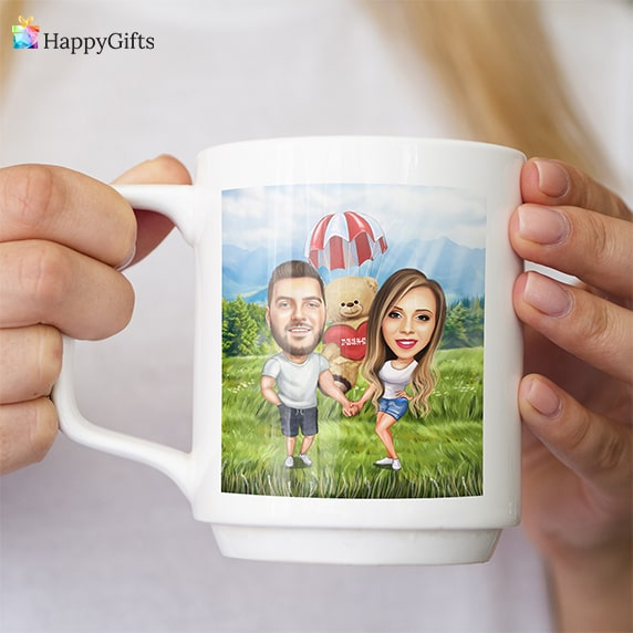 чаша с карикатура коледен подарък за гадже жена