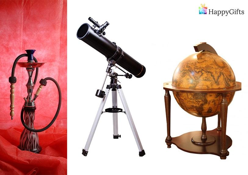 Подаръци за коледа за мъж, Коледни подаръци за мъж, ефектни коледни подаръци, телескоп, наргиле, глобус бар