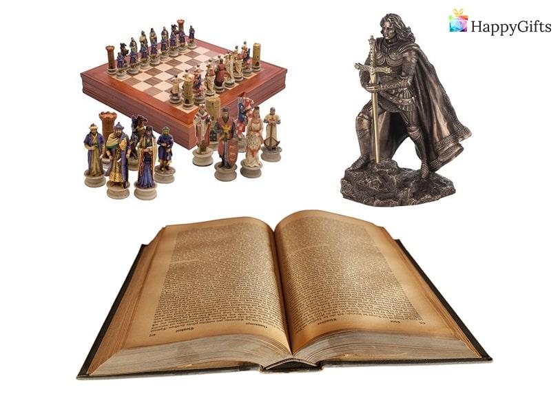 Коледен подарък за мъж, мъжки подарък за Коледа, елегантен подарък, шах, енциклопедия, статуетка
