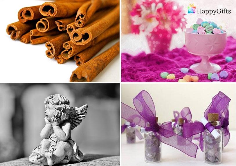 евтини бюджетни подаръци а гостите на сватбата пръчици канела малка статуетка ангелче бутилчица с камъчета и лилава панделка