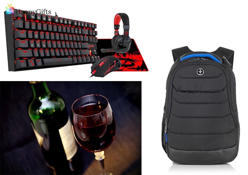 Подарък за гадже момче, подарък за годишнина, клавиатура с мишка и слушалки, раница, вино, чаша за вино