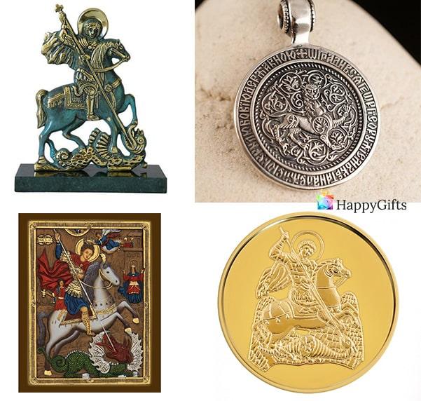подарък за гергьовден слатна монета свети георги статуетка икона медальон