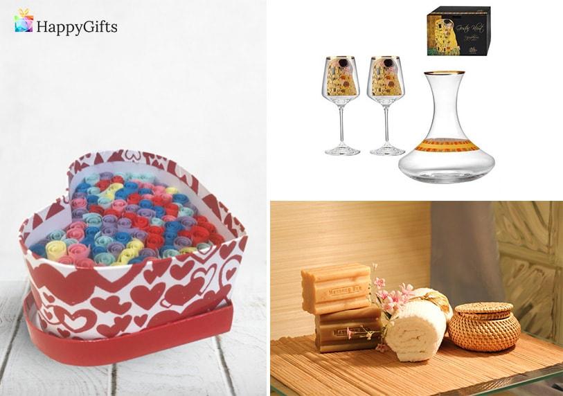 подаръци за нея за годишнина от сватба, обичам те на 100 езика, спа ден, чаши за вино