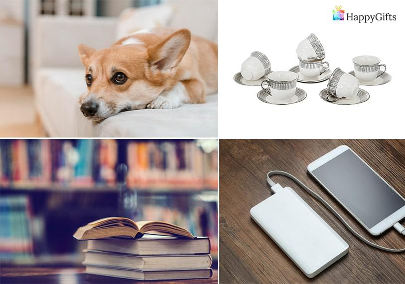 идеи за подарък за имен ден на жена външна батерия домашен любимец куче сервиз за чай книга
