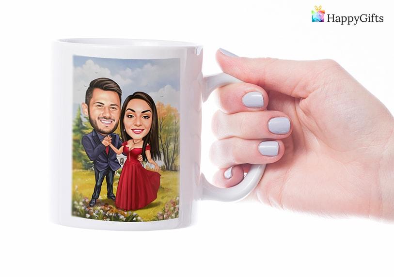 чаши с карикатура на влюбена двойка идея за подарък