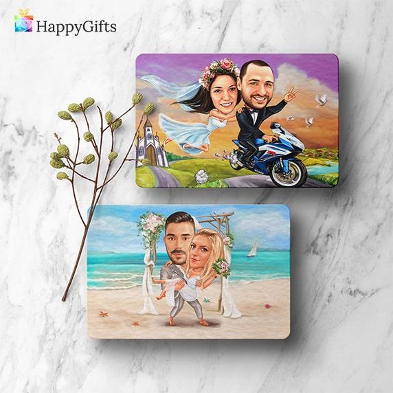 магнитче за хладилник със сватбена карикатура на младоженците подарък за гостите на сватбата